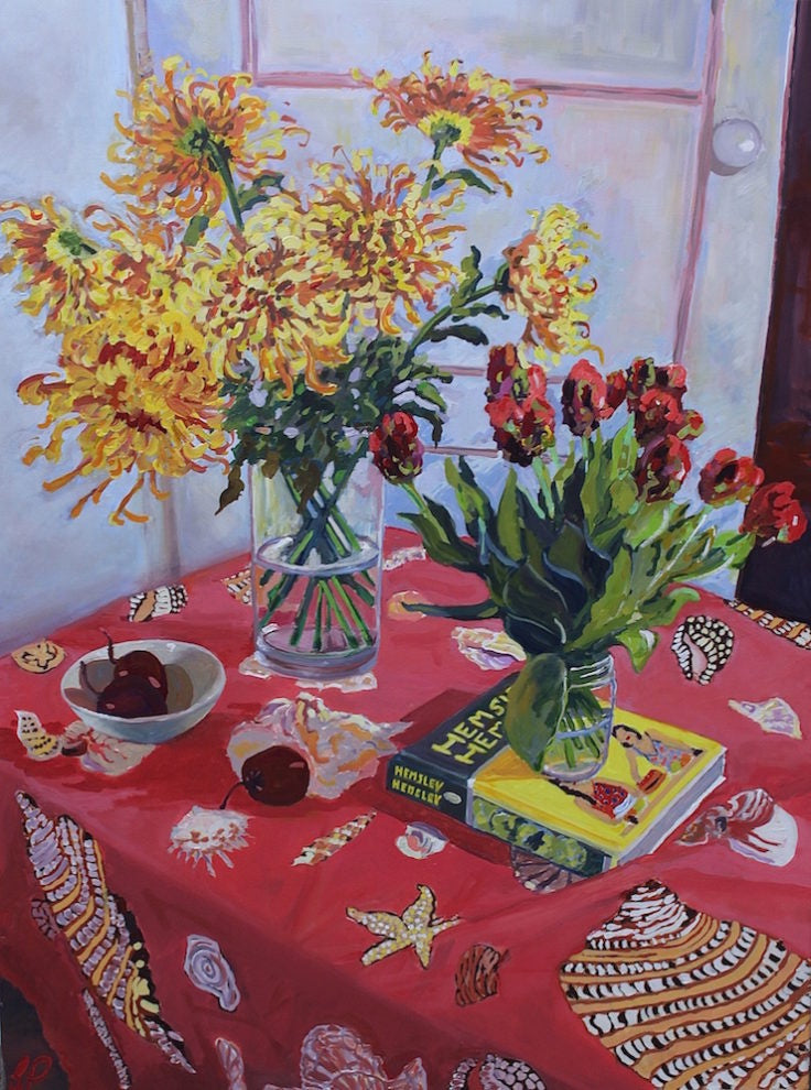 Spider Chrysanthemums Tamarillos Tulips & my Favourite Cookbook (SOLD)