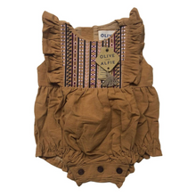 Load image into Gallery viewer, Olive Embroidered Romper Mango