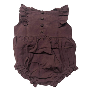 Olive Embroidered Romper Mahogany