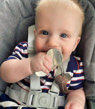 Cute Baby with Baby-safe Metal Keys