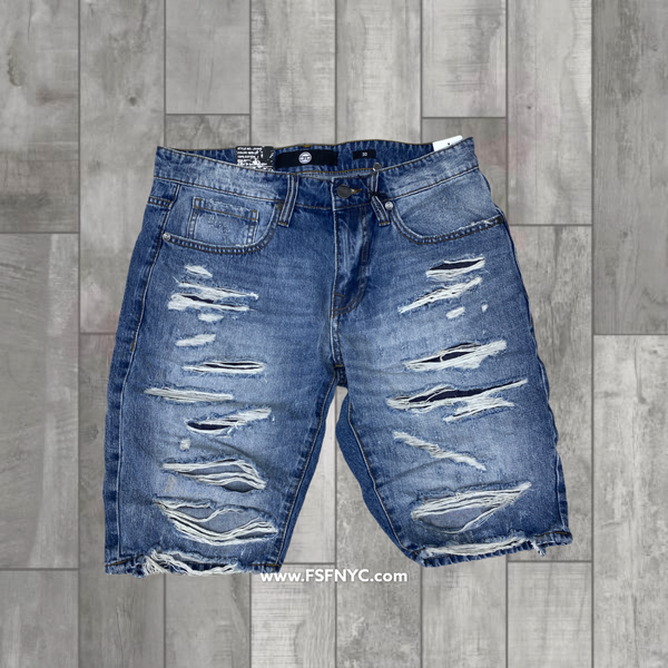 Jordan Craig Shredded Jean ShortsM Blue 2021 j3164