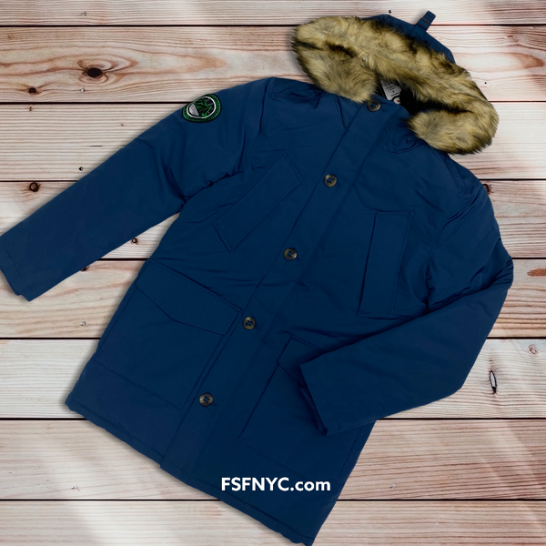 SuperDry Everest Parka Coat Ocean Blue 0204A
