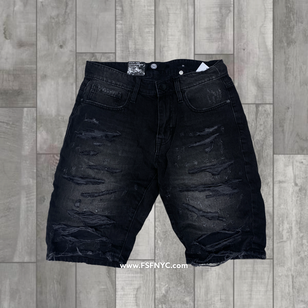 Jordan Craig Shredded Jean Shorts Black Shadaw 2021 j3164