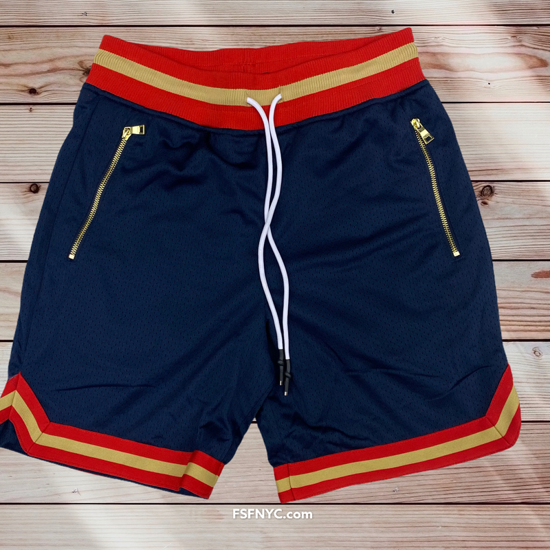 Jordan Craig athletic mesh shorts  new orleans navy/orange   8903
