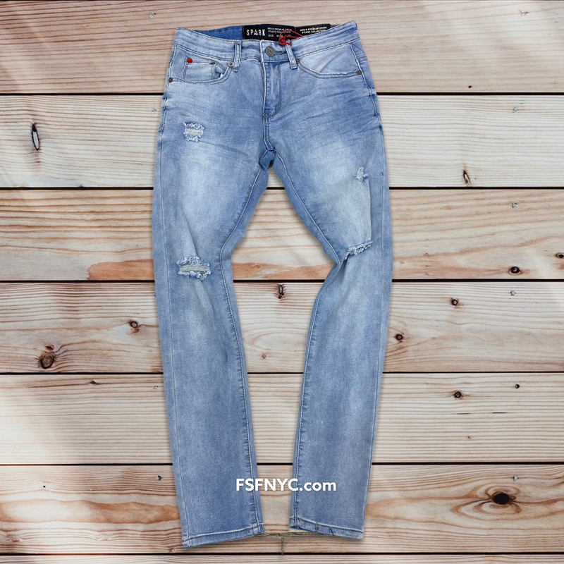 Spark basic rips & tear jeans Lt blue 1913