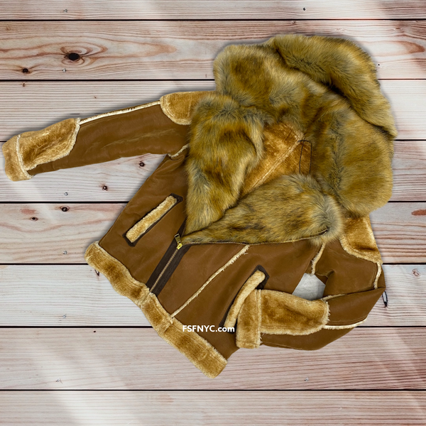 Jordan Craig Biker Shearling Coat w fur Walnut 91518