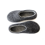Women Organic Wool Felted Slippers Charcoal