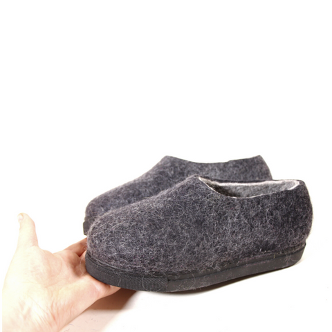 Eco Friendly Wool Felted Shoes Charcoal