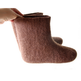 Organic Wool Ankle Boots Chocolate Brown