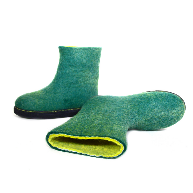 Wool Felt Womens Snow Boots Green Yellow