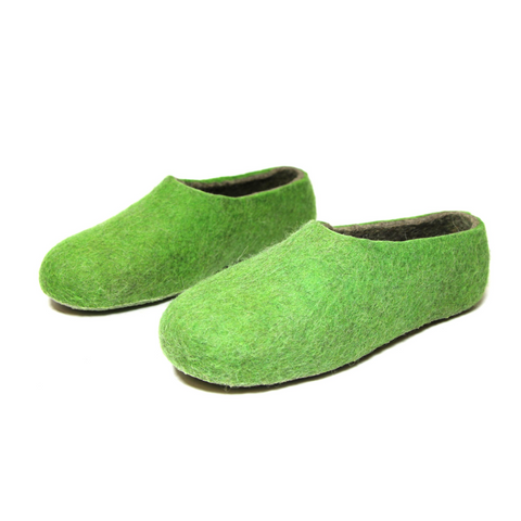 Womens Biodegradable Felted Wool Slippers Apple Green