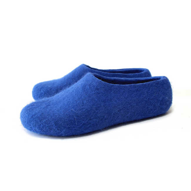 Natural Wool Womens Moccasins Navy Blue