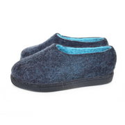Hygge Wool Felted Shoes Black Turquoise