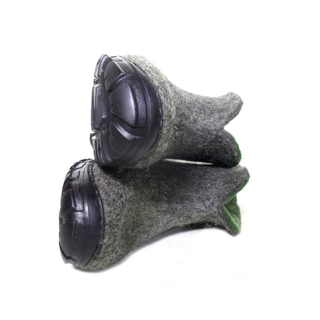 Virgin Wool Boots Gray Green