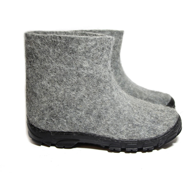 Men Wool Ankle Boots Gray