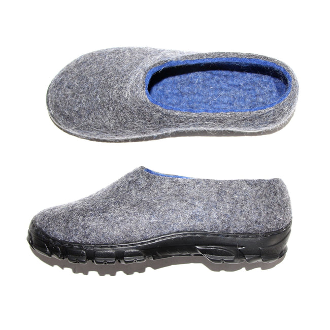 Mens Wool Snow Boots Gray Blue