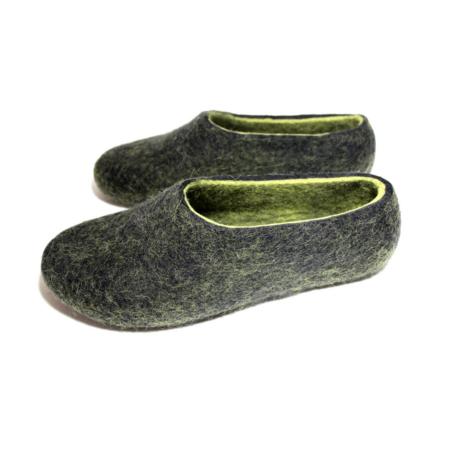 Womens Natural Felted Wool Slippers Black Lime