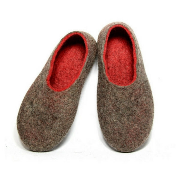 Women Warm Felted Wool Slippers Beige Red