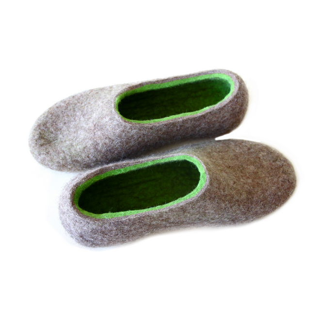 Womens Sustainable Wool Natural Slippers Beige Green