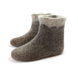 Wool Felted Boots Organic Beige Brown