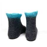 Sustainable Wool Booties Black Turquoise