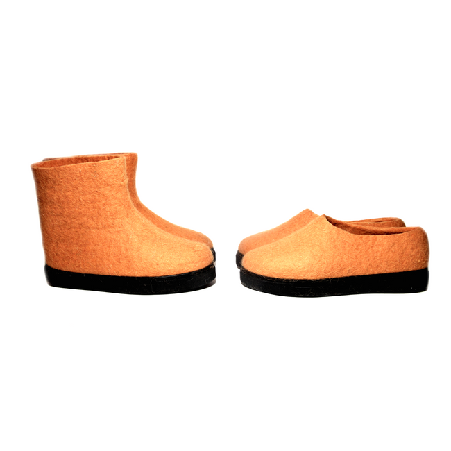 Sustainable Valenki Felted Boots Orange
