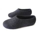 Women Organic Felted Slippers Black Minimalist