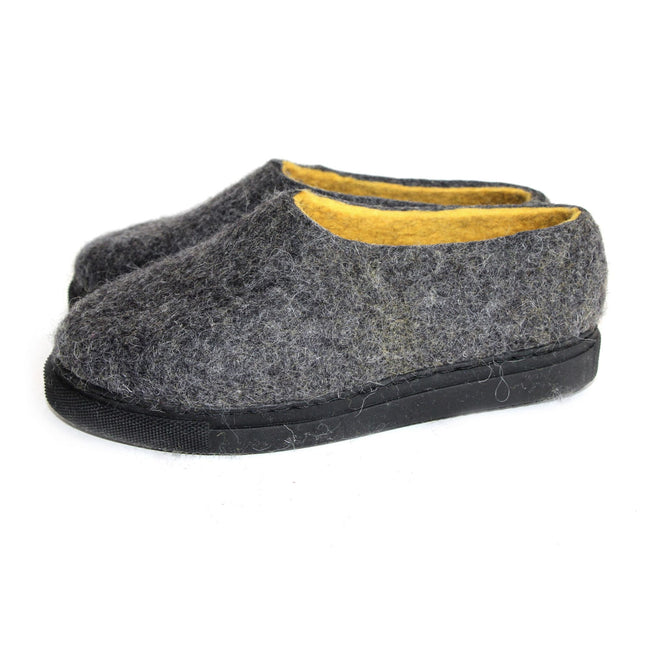 Cruelty Free Wool Felt Shoes Gray Yellow