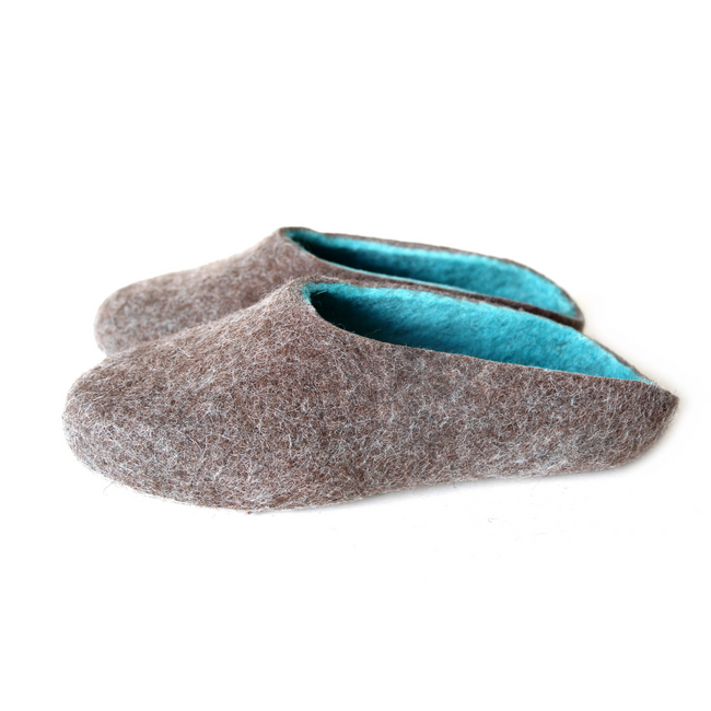 Women Raw Wool Clogs Beige Turquoise