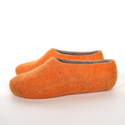 Womens Natural Felted Wool Slippers Orange