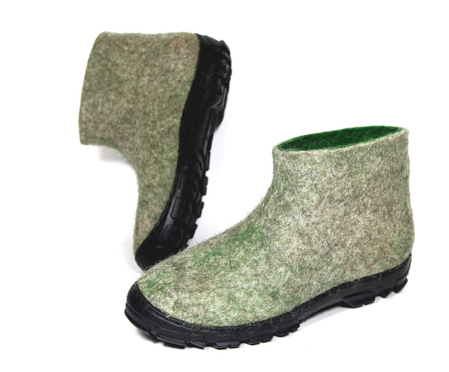 Mens Wool Snow Ankle Boots Gray Green