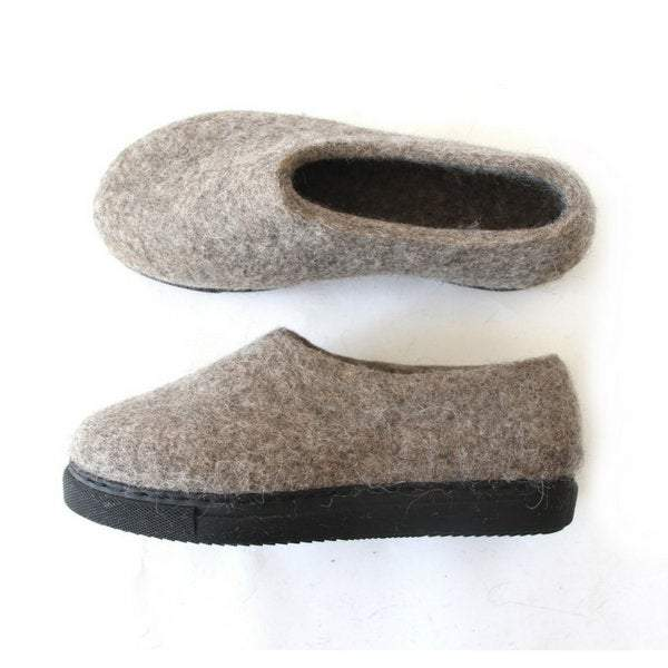 Women Organic Wool Felt Shoes Rustic Gray