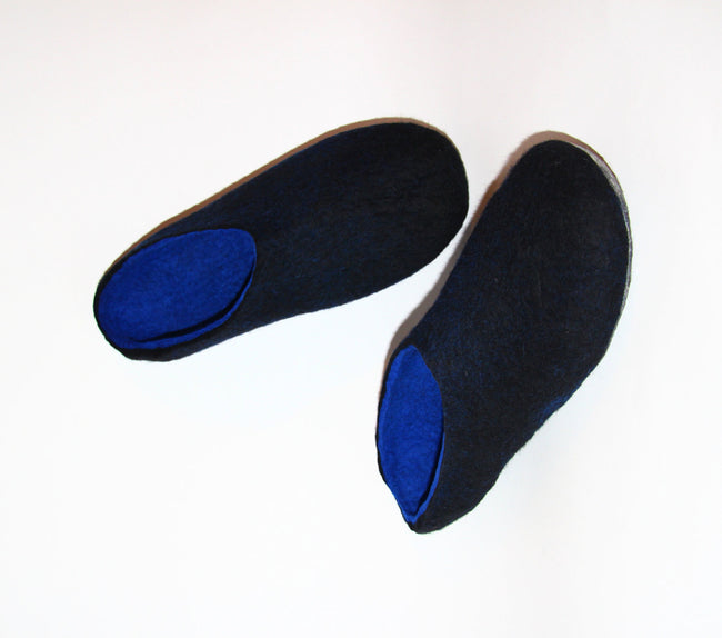 Luxury Black Blue Wool Mules Clogs