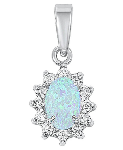 Ornate Sparkly Butterfly Pendant Blue Simulated Opal .925 Sterling Silver Charm