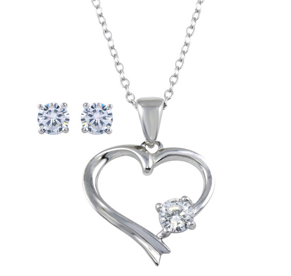 925 Sterling Silver Rhodium Plated Cubic Zirconia Oval with Dangle Heart Shaped Pendant