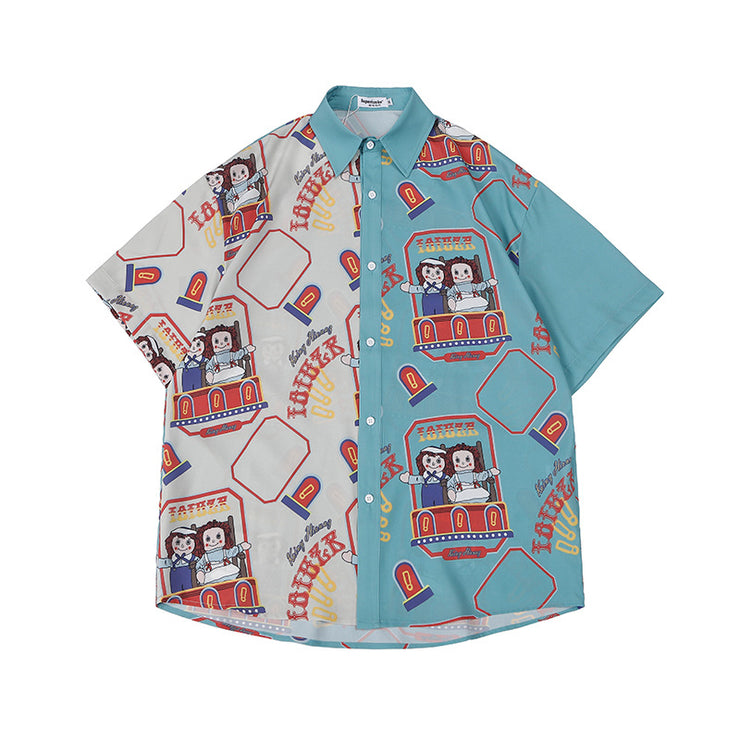 Contrasting Color Cartoon Printed Casual Shirt