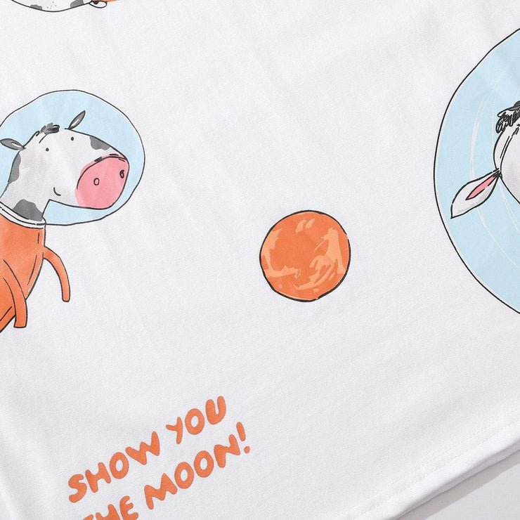 Vintage Space Cow Pattern Cotton Tee
