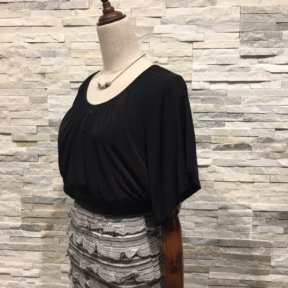 Black top and grey skirt as one Dress