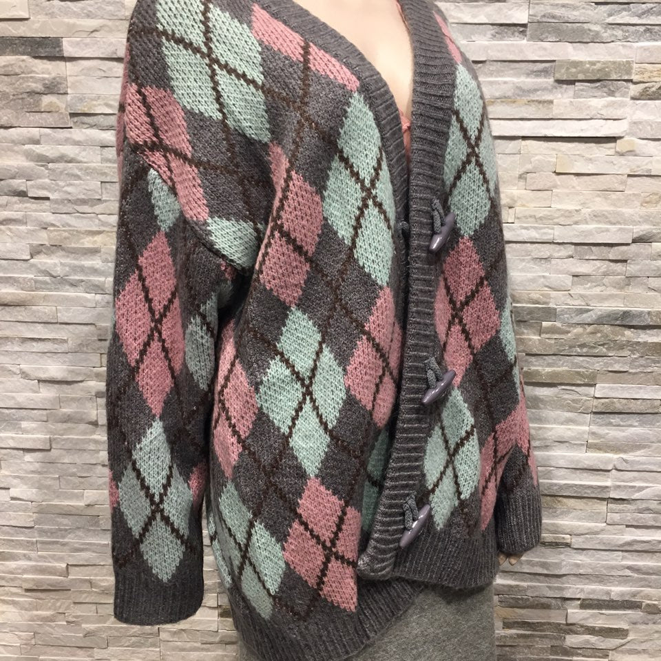 Cardigan V Neck checked pattern