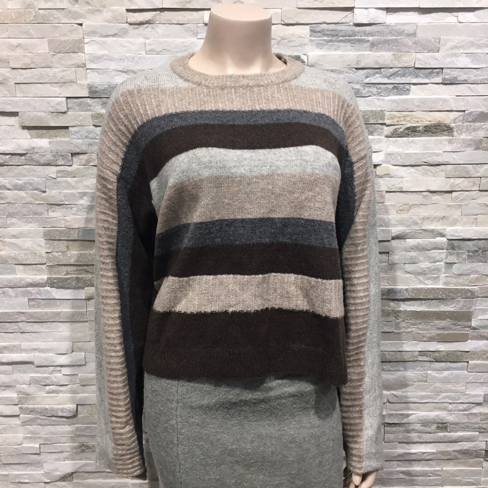 Stripe Knit top with buttons on arm
