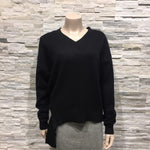 Knit top with one side lining