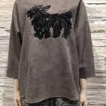 Suede Top Gray - Dog printed