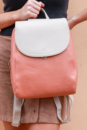Light carmel/coral backpack/shoulder bag