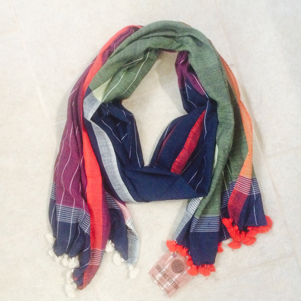Hand Loomed Organic Cotton Scarf - pompom - Tri Color