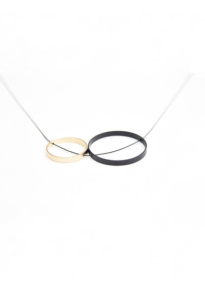 Pursuits Duet Short Necklace in matte black and gold