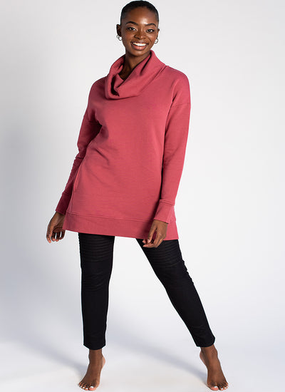 Terrera Amye Cowl Neck Tunic In Rose And Plum