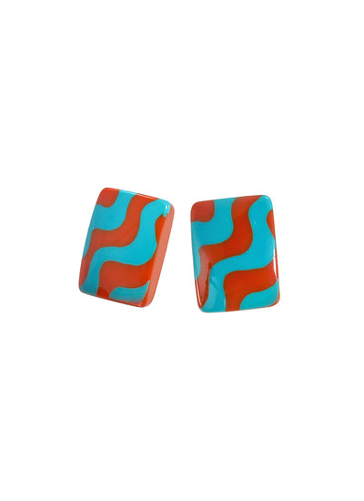 Zsiska Acapulco Earrings in Orange and Turquoise