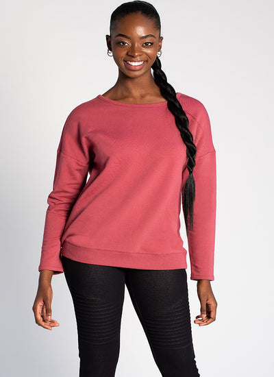 Terrera Riley Crossover Sweater In Deep Rose