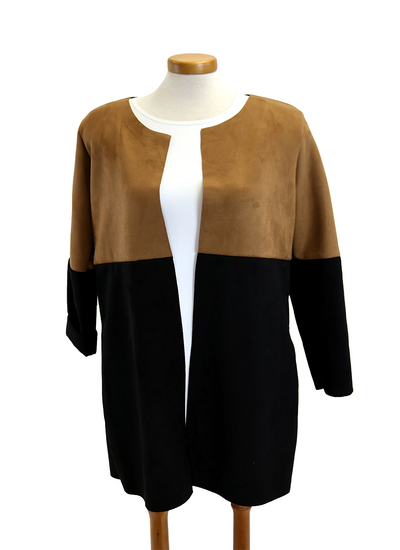 Catherine Lillywhite Faux Suede Two Tone Jacket in camel and black