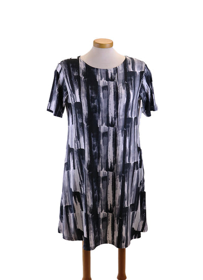 Sympli Trapeze Dress in Brushstroke Grey